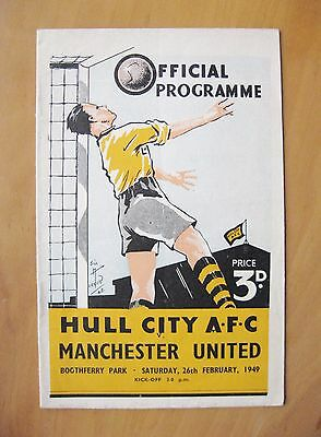 HULL CITY v MANCHESTER UNITED FA Cup 1948/1949 Exc Condition Football Programme