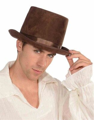 New Deluxe Brown Steampunk Coachman Victorian Costume Bell Topper Top Hat