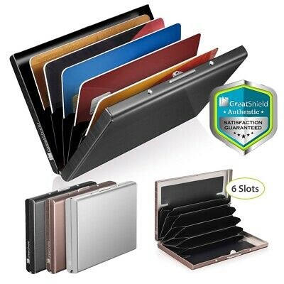 GreatShield 6 Slot Stainless Steel RFID Blocking Identity Protection Card Holder