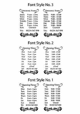 Opening Hours Floral design Vinyl Decal for Shop Window Door Times Sign