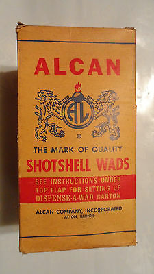 VINTAGE ALCAN SHOTSHELL WADS BOX , 9 X 4,5 inch,  larger size,  nearly full box