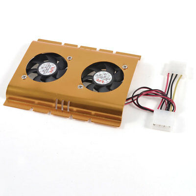 """3.5"""" Hard Disk Drive HDD Dual Fan Cooling Cooler Gold Tone for Desktop PC"""
