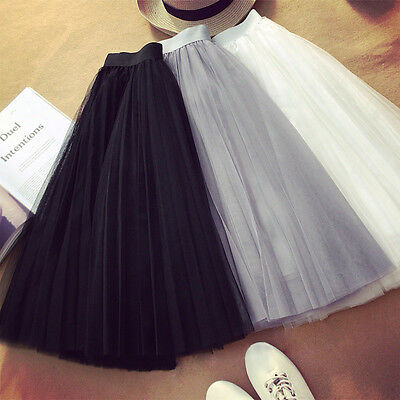 Women Princess Ballet Tulle Pleated Tutu Skirt Wedding Prom Party Bouffant Dress