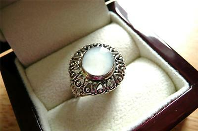 Mother Of Pearl 925 Sterling Silver Round Ethnic Bali Style Ring Sz O 7.5