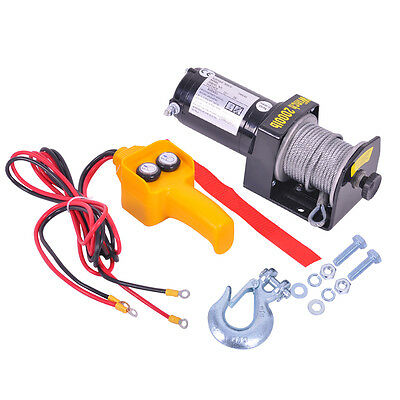 12V 2000LB Recovery Electric Winch ATV Rope Remote Control Truck Trailer Boat