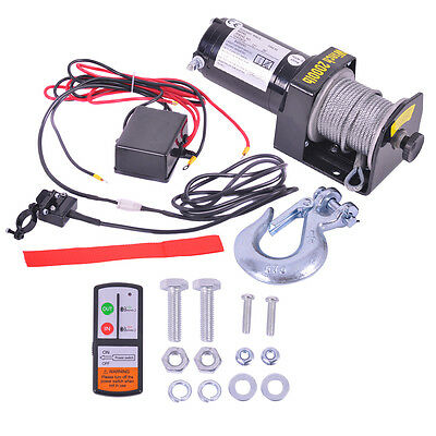 12V 2000LB Recovery Electric Winch ATV Rope Wireless Remote Truck Boat Trailer