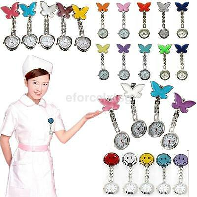 Cute Round Smile Face Butterfly Nurse Clip-On Brooch Quartz Hanging Pocket Watch