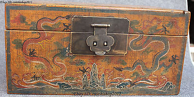 """16"""" Chinese Wood Lacquerware Dragon Dragons Word Box Boxes Case Chest Statue"""