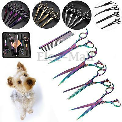 "5 Color 7"" Pet Hair Scissors Set Dog Grooming Cutting &Thinning &Curved Shears"