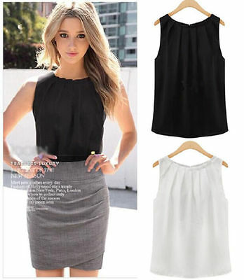2019 Women Summer Loose Sleeveless Casual Tank T-Shirt Blouse Tops Vest Solid