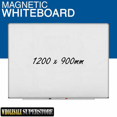 WHITEBOARD 1200 x 900mm Magnetic Commercial Quality - Board Office Eraser Marker