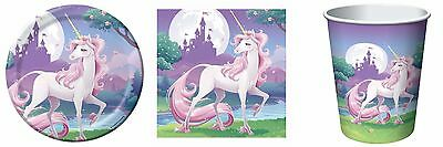Unicorn Fantasy Party Supplies Pack for 16 - Plates, Napkins, Cups & Loot Bags