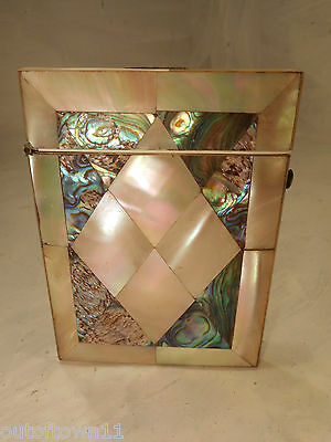 Antique Abalone & Mother of Pearl Card Case   ref 439