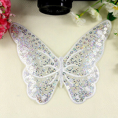 Embroidered Iron on Patch Badge Butterfly Shape Sequin Bag Sew Fabric Applique