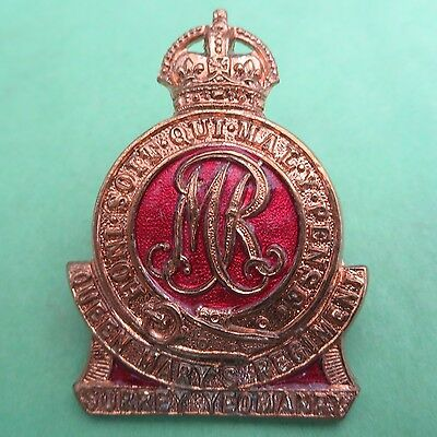 The Surrey Yeomanry (Queen Mary's Regiment) Army/Military Hat/Cap Badge