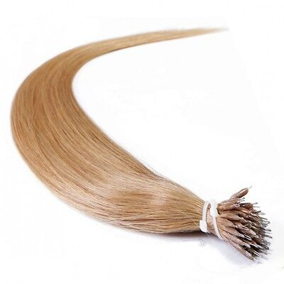 Nano Ring Tip 100% Remy Human Hair Extensions WITH RINGS Honey Blonde #27