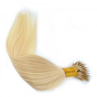 Nano Ring Tip 100% Remy Human Hair Extensions WITH RINGS Platinum Blonde #60