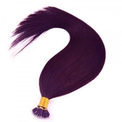 Nano Ring Tip 100% Remy Human Hair Extensions WITH RINGS Plum Red #99J