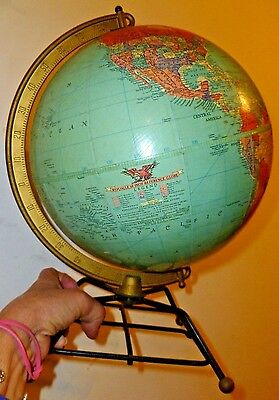 "Vintage Mid Century Replogle reference 10"" Desk Top Globe Wire hairpin base"