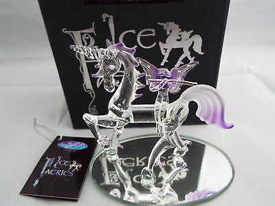 Ice Faeries Crystal Glass Unicorn & Fairy Lilac & Clear