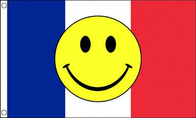 FRANCE SMILEY FACE FLAG 5' x 3' French Eurovision Song Contest Party