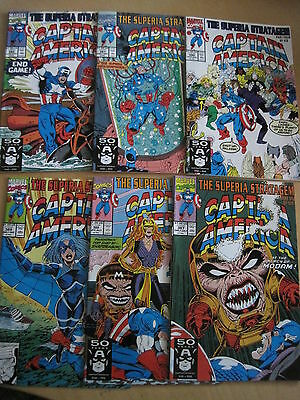 """CAPTAIN AMERICA 387 - 392 : COMPLETE 6 issue """"The SUPERIA STRATAGEM"""" STORY. 1991"""