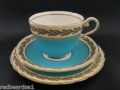 Aynsley Vintage Bone China Turquoise Gold Trio Tea Cup Saucer Plate c1940s 256