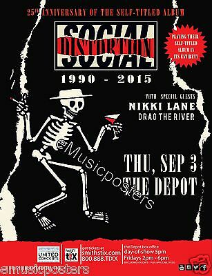 "SOCIAL DISTORTION ""25th ANNIVERSARY TOUR"" 2015 SALT LAKE CITY CONCERT POSTER"