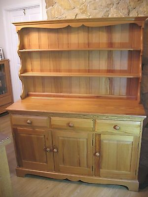 Vintage pine country farmhouse style Ercol Welsh Dresser sideboard and top unit