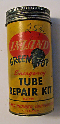 VINTAGE INLAND RUBBER Co. GREEN TOP TIRE TUBE REPAIR KIT ADVERTISING OIL CAN