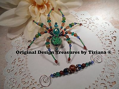 Treasures byTiziana® Beaded Princess heart kiss Green Tree Frog Love Pet Spider