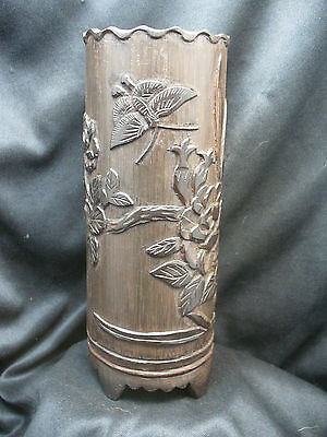 Old Chinese Bamboo Brush Pot with Butterfly Motif