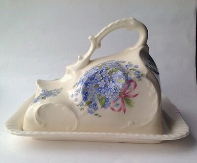 Large Cheese Dish. Blue and White Forget-me-not Motif