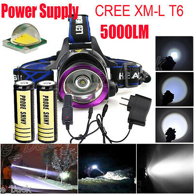 CREE 5000LM XM-L T6 LED Headlamp Head Light Torch +2x 18650 Battery+2xCharger UK