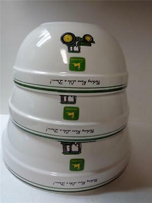 JOHN DEERE Stoneware Mixing Bowl Collection 3pc Tractor Cooking Serving White