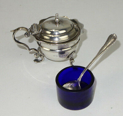 1896 ES Barnsley Sterling Silver Footed Conditment W/ Cobalt Liner