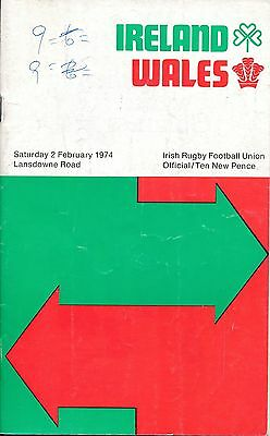 RUGBY UNION PROGRAMME: Ireland v Wales 1974