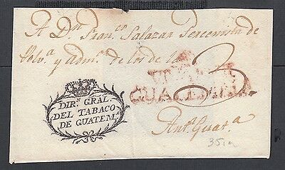 NICARAGUA 1800s  TOBACCO STAMPLESS FL GUATEMALA CROWN OVAL HANDSTAMP