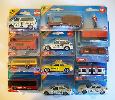 SIKU Blister Carded MINIATURE Vehicles - BUSES, TAXIS, TRAINS & TRAMS (8 - 9cm)
