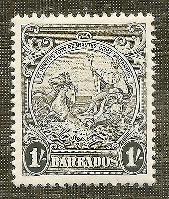 MINT 1/- BROWN-OLIVE STAMP 1938 BARBADOS BADGE of COLONY