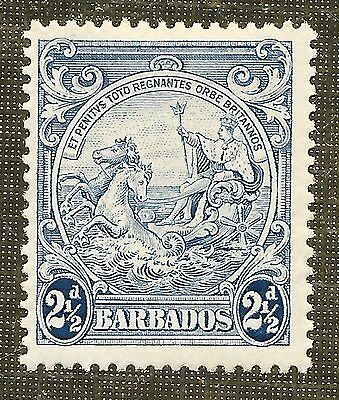 MINT 2 1/2d ULTRAMARINE STAMP 1938 BARBADOS BADGE of COLONY