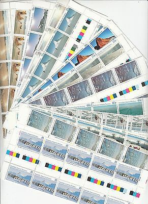 Antarctic Territory: 1984-87 Definitives set of 15 gutter strips.MUH.Face $63.10