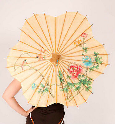 Vintage Oriental bamboo & paper Parasol ~ Hand Painted flower shaped Umbrella