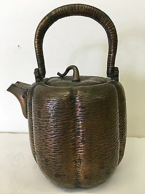 Antique Vintage Old 19thC Hand Hammered Japanese Copper Tea Pot Meiji