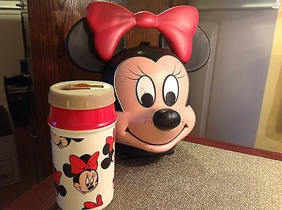 """Vintage Disney MINNIE MOUSE Lunch Box Kit with 8oz Thermos Aladdin 11"""" tall"""