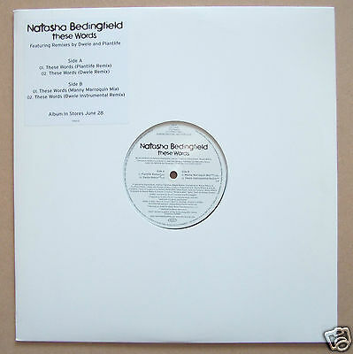 "NATASHA BEDINGFIELD These Words US 4-trk promo vinyl 12"" NEW/UNPLAYED Dwele"