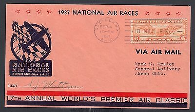 Usa 1937 Pilot S.j. Wittman Signed National Air Race Cover Cleveland To Ohio