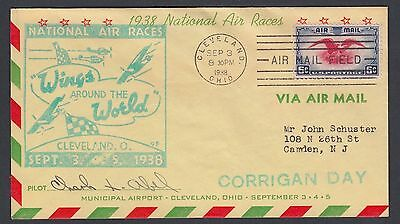 Usa 1938 Pilot Abel Signed Wings Around The World Air Race Cover Cleveland Ohio
