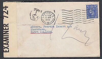 Uk 1942 Wwii Censored Postage Due Cover London To Faroe Islands Denmark
