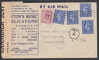 Uk 1944 Wwii Censored Postage Due Music Cover London To Buenos Aires Argentina